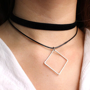 Simple Geometric Double Layers Chokers necklaces Punk Hollow Black leather Suede Collar Chocker Necklace Collier femme