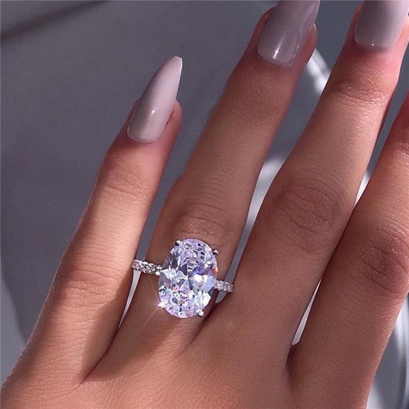 17IF NEW Classicn Luxury White Silver Zircon Ring Lady Elegant Big AAA Zircon Oval Rhinestone Wedding Bridal Ring Jewelry 2019