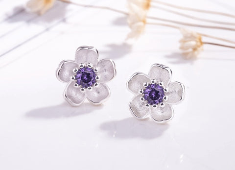 New Fashion Cute Silver Cherry Blossoms Flower Set Pink Stud Earrings for Women Girls Kids Jewelry