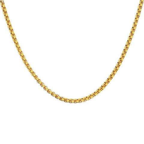 3mm 24in Men's Stainless Steel Thick Golden Link Chain Necklace for Men Gift