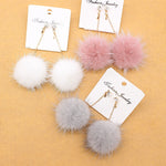 Crystal cute Rabbit Fur Ball PomPom Long Drop Earrings For Women Soft Pom Pom Ear Dangle Jewelry Winter Gift Trinket Brincos