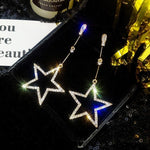 2019 New Fashion Brincos Oorbellen Bijoux Crystal Rhinestone Hollow Five-pointed Star Hanging Earrings Ladies Fashion Jewelry