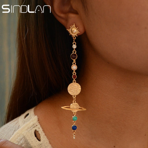 Sindlan Solar System Universe Earrings for Women Long Drop Dangle Sun Earth Earrings Ear Stud Gold Summer Female Ear Jewelry