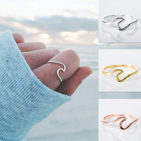 Hot Sale Wave Ring 2-shaped Men and Women Ring Friendly Alloy Simple Metal Silver, Gold, Rose Gold color Hand Jewelry
