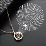 2019 New Rose Gold Silver 100 Language I love You Necklace Memory Projection Pendant Wedding Letter Necklace