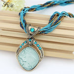 F&U New Bohemian Pendant Necklace Vintage Rhombus Crystal Pendant Bohemia Style Multilayer Chain Handmade Retro Necklace N002
