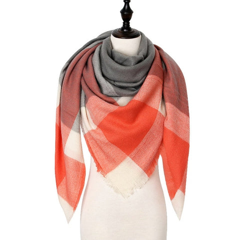 Designer Warm Cashmere Winter Women Scarf Plaid