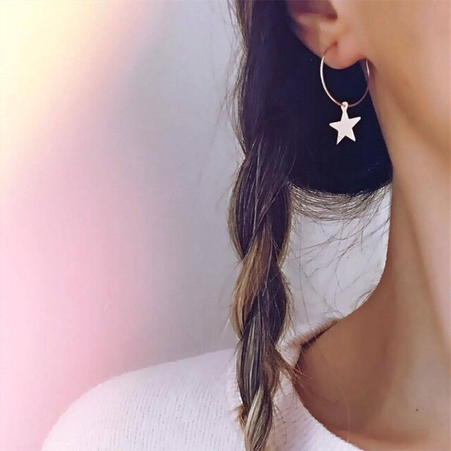Hot Sale Geometric Heart Triangle Cross Round Earrings For Women Gold Color Star Moon Ear Ring Simple Fashion Jewelry Bijoux