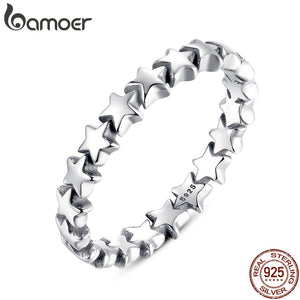BAMOER Star Trail Stackable Finger Ring For Women Wedding 925 Sterling Silver Jewelry