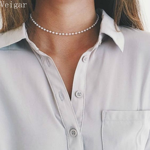 White Pearl Beaded Chokers Necklaces for Women High Quality Beads Choker Necklace Fashion Jewelry Collier Ras Du Cou