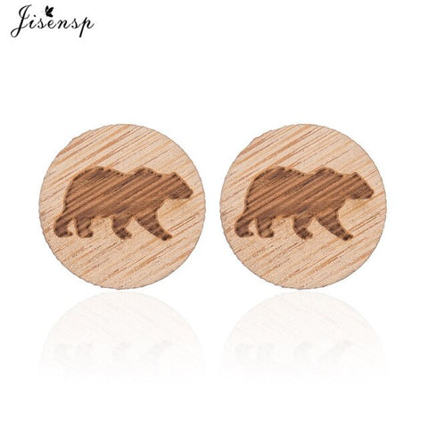 Jisensp Lovely Design Trendy Animal Wood Earrings Cute Paper Crane Fox Squirrel Wooden Earrings Jewelry for Women Girls Gift