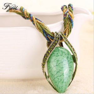 F&U Vintage Necklace  Fashion Popular Retro Bohemia Style Multilayer Beads Chain Crystal Grain  Water Drop Pendant Necklace