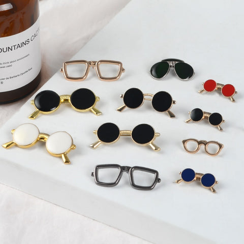 Sven Glasses Cool Sunglasses Pins Geometric Round Black eyeglasses enamel Brooches Shirt bag Lapel Pin Badge women men Jewelry