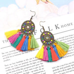 Bohemian Tassel Crystal Long Drop Earrings
