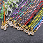 JCYMONG 17 Color Bead Choker Necklace For Women Bohemian Shell Cowrie Pendant Necklace Female Fashion Beach Collier Jewelry 2019