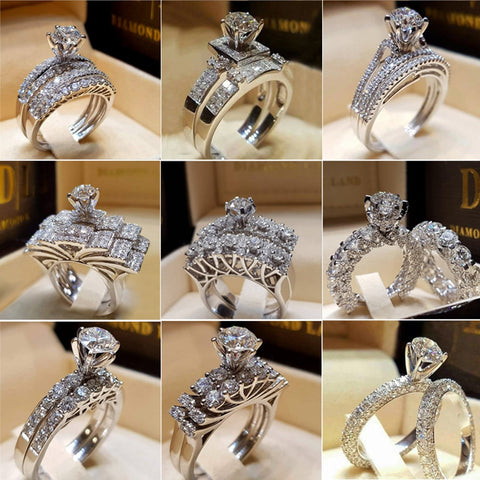 NEW Female Crystal White Round Ring Set Brand Luxury Promise Silver Engagement Ring Vintage Bridal Wedding Rings for Women