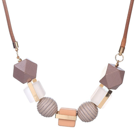 Zoeber Sweater Chain Wood Beads Necklace Fashion Geometric Women Statement Necklaces & Pendants  Collares Mujer Collier Jewelry