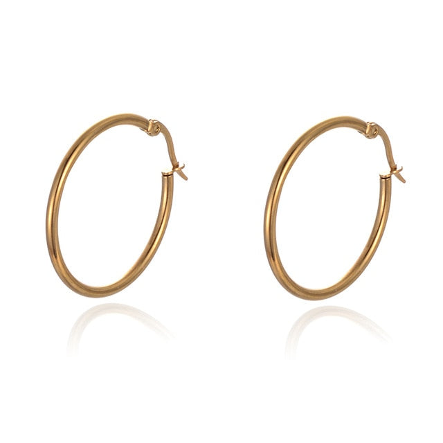 SUKI 30mm-70mm Stainless Steel Fashion Big Drop Earrings for Women Large Round Circle Rings Earrings Brincos Jewelry Party Gift