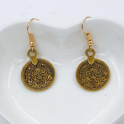 Ancient Figures Vintage Bronze Silver Round Coin Medal Retro Drop Earrings Dangle Earrings for Women