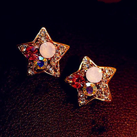 Vintage Retro Colorful Crystal Rhinestone Stars Lovely Earrings Jewelry