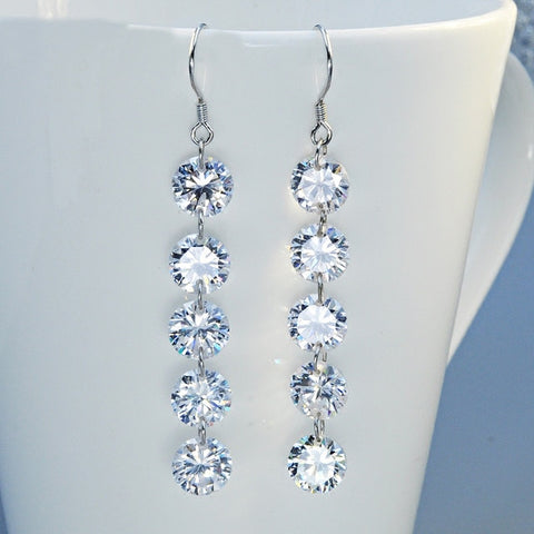 "Elegant Bride wedding long ""Love of water droplets"" earrings with Cubic Zirconia S925 Tremella Hook dangle fine jewelry"