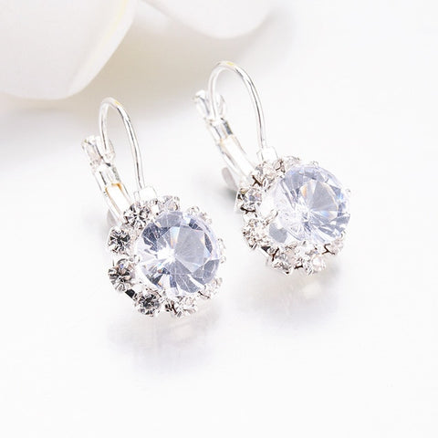 Sale Crystal Round Square Stone drop Earrings For Women fashion Jewelry Rhinestones earrings Weddings Gifts