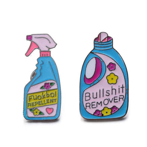 1/2 Pcs New Arrival Pins And Brooches Bullshit remover XX Repellent Funny Detergent Spray Pin Set Badge Enamel Pin