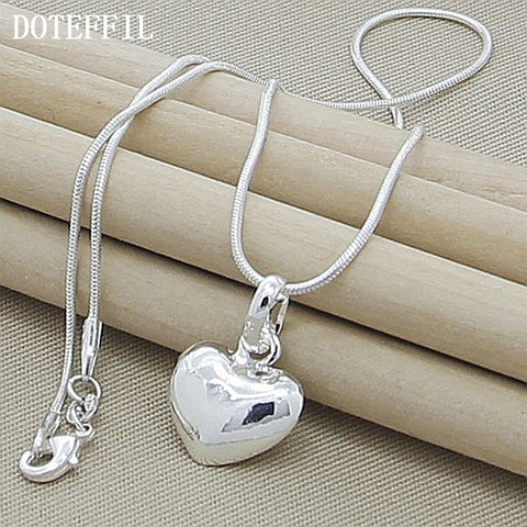 925 Silver Color Necklace  Fashion New Jewelry Heart Pendant Necklace For Women Girl Gifts