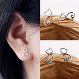New Cute Tiny Symmetry Cat Stud Earrings Cat Moon Bow spider Earrings Jewelry For Women Gift