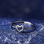 Trendy Hollow Heart Shaped Gold Silver Ring For Women Engagement Wedding Rings Daily Rings for Women Accessories Jewelry