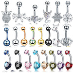 1PC Steel Belly Button Rings Crystal Piercing Navel Heart Style Piercing Navel Earring Belly Piercing Sex Body Jewelry Piercings