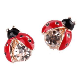Hot Selling Fashion Ladybug Earrings Jewelry Lifelike Stud Earrings For Women