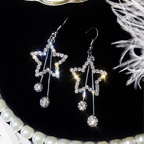 Crystal Heart Star Crown Drop Earrings for Women