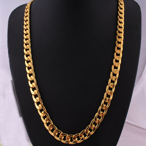 Punk Hip Link Golden Chain Rapper Men Necklaces Street Fashion Popular Metal Alloy Long Chain Decorative Jewelry Present