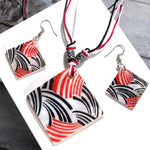 ZOSHI Square Pendant Necklace Earring Sets Multilayer Leather Necklace Earrings Natural Shell Stone Costume Jewelry Set