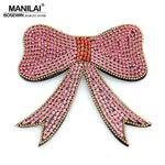 MANILAI Luxury Multicolor Rhinestones Bowknot Weddings Brooches Women Beautiful Big Bow Brooch Pin Costume jewelry