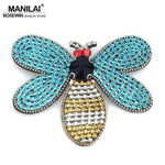 MANILAI Brand Luxury Multicolor Rhinestones Honeybee Charm Brooches For Women Big Bee Insrct Brooch Pin Costume jewelry