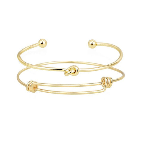 2PCS Vintage Gold Color Tie Knot Bracelet Bangles Simple Twist Cuff Open Bangles For Women Jewelry Costume Jewellery Gift
