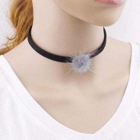 New Black Velvet Choker Necklace Pom Pom Fashion Women Fur pompon Chokers 2016 Neck Collar Maxi Collier Costume Punk Jewelry