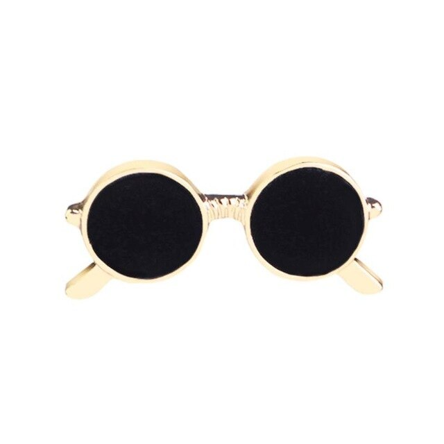 Fashion Men Enamel Sunglasses Suit Pin Costume Brooches Casual Jewelry Gift