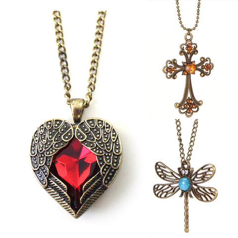 Newly Fashion Women Vintage Long Sweater Chain Crystal Pendant Costume Jewelry For Women 3 styles
