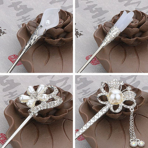 Vintage Classical Princess Tassels Women Costumes Tiara Headdress Tiara Jewelry Hair Stick Head Piece Wedding Hair Accessories