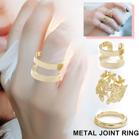 3pcs/set Fashion Gold Color Rings Geometrical Finger Joint Ring Women Lady Charm Costume Jewelry Accessories
