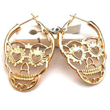 Silver Color Punk Hollow Skull Skeleton Stud Earrings Party Costume Jewelry Large Earrings For Women