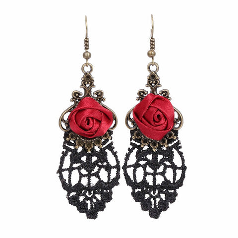 Retro Vampire Silk Red Rose Lace Gothic Dangle Earrings Medieval Elegant Party Drop Earrings