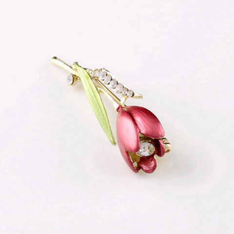 Elegant Tulip Flower Brooch Pin Rhinestone Crystal Costume Jewelry Clothes Tools Jewelry Brooches For Wedding