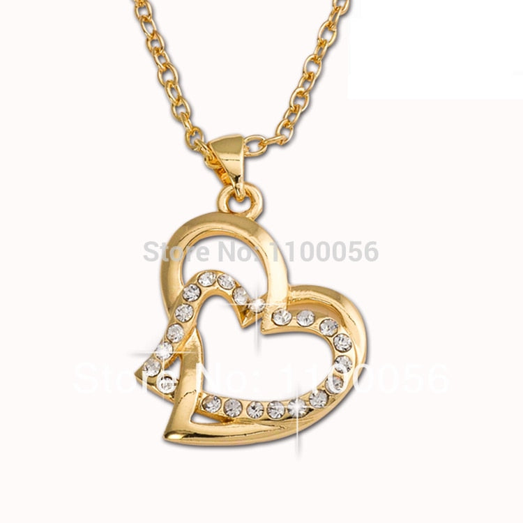 Fashion Necklaces For Women Jewelry Double Heart Long Necklace T1308
