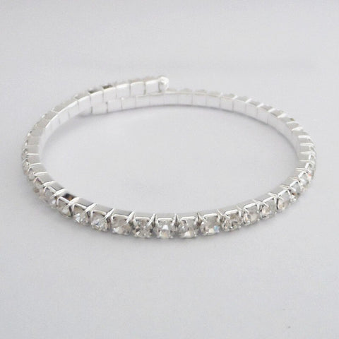 Retail Silver Color Crystal Changable Bangle Women Party Costume Jewelry Bracelet