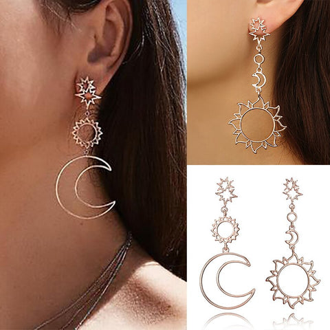 Women's Fashion Retro Moon Star Earrings Simple Pendant Gold Earrings Lady Party Costume Jewelry Accessories