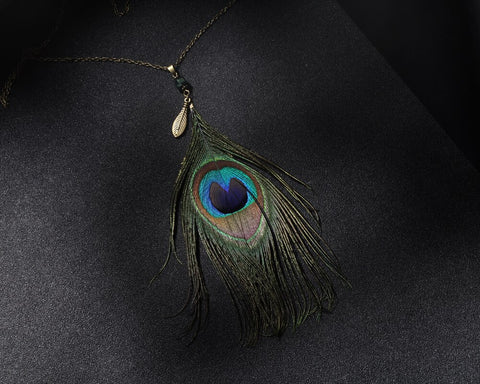Statement Fashion Women 2017 Necklace Pendant Femme Peacock Feather Maxi Jewelry Bijoux Costume